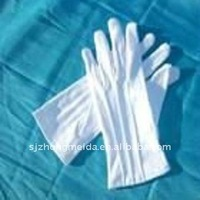 White Cotton working gloves with pvc dots; marching glove; ceremony glove