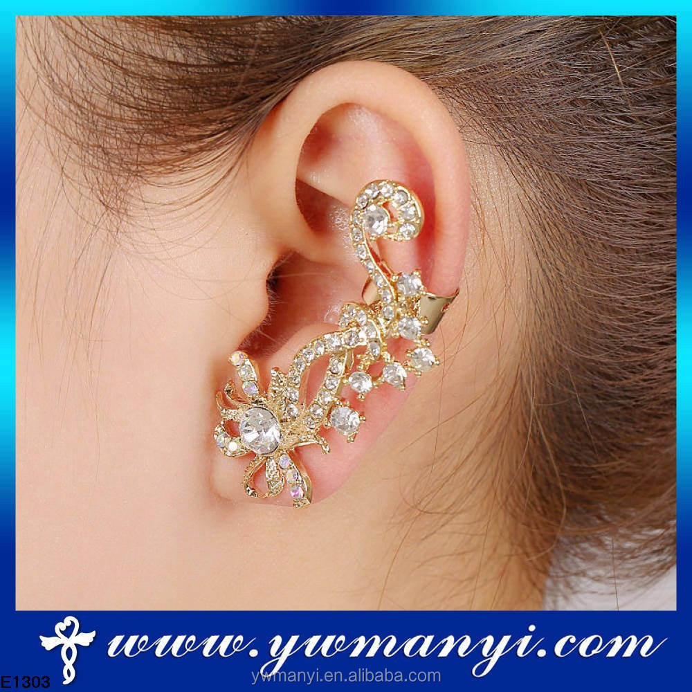 18K Gold Pave Crystal Ear Wrap Pin Clip Ear Cuffs Climber Earrings Studs E1303