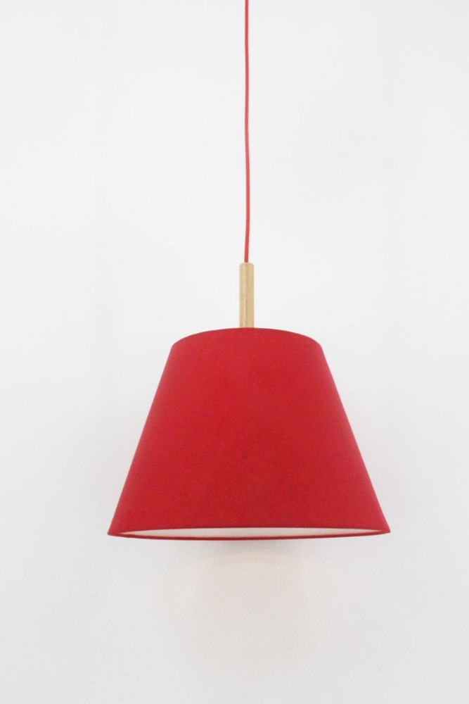 Red Fabric Shade Traditional Pendant light for Guest Room Hallway