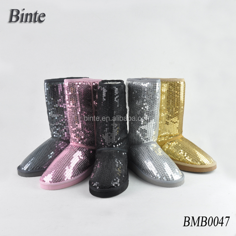 China winter silver half boots sparkle upper sequin fashion boots paillette snow boots for girl