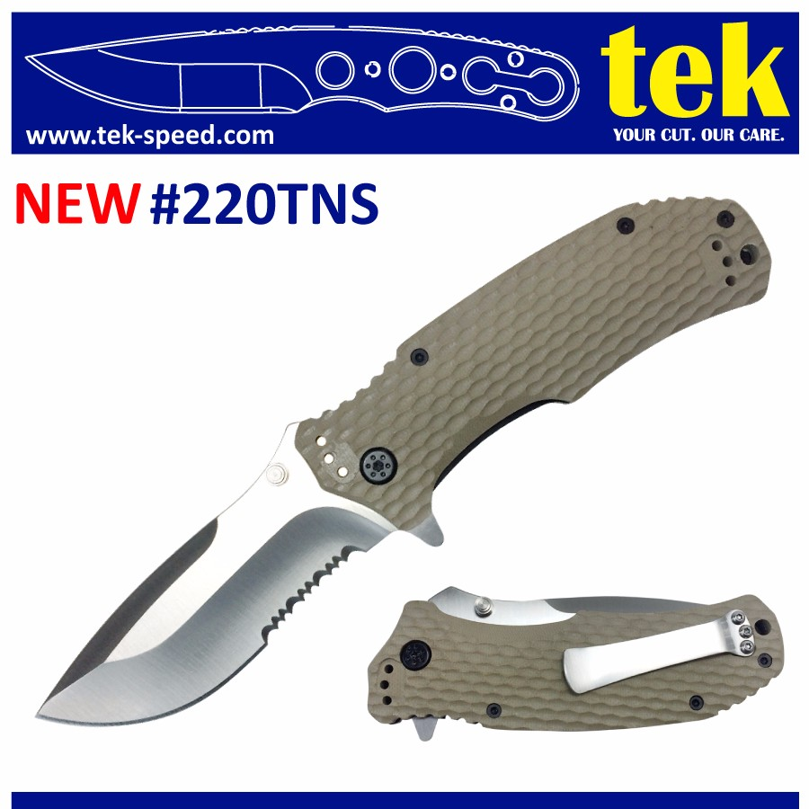 "3.46"" combo edge blade 4.8"" tan <strong>g10</strong> handle folding knife army"