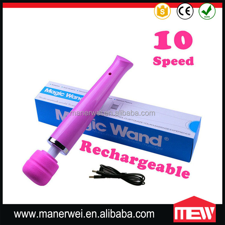 Unplugged Rechargeable Female Vaginal Vibrator 10 Speeds Wand Massager