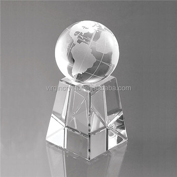 Wholesale cheap Crystal glass sports Ball ,globe Trophy Award