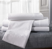 Wholesale Hotel Use Sateen Stripe Single Poly Cotton White Sheets Bedding Set