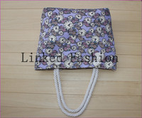 Retail Printed Flower Zipper Canvas Bag