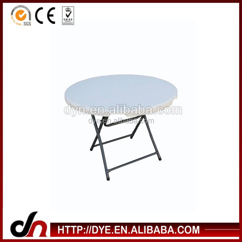 Outdoor portable small round white plastic folding table with metal legs