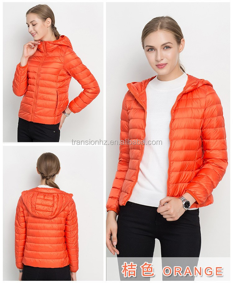 women ultralight down jacket fashion design foldable down feather jacket