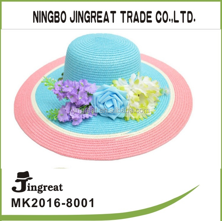wholesale beach straw boater hat 2015New style pith helmet Flower adornment