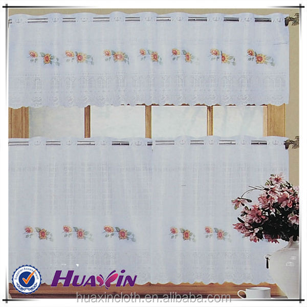 High quality popular beautiful embroidery latest kitchen curtain design