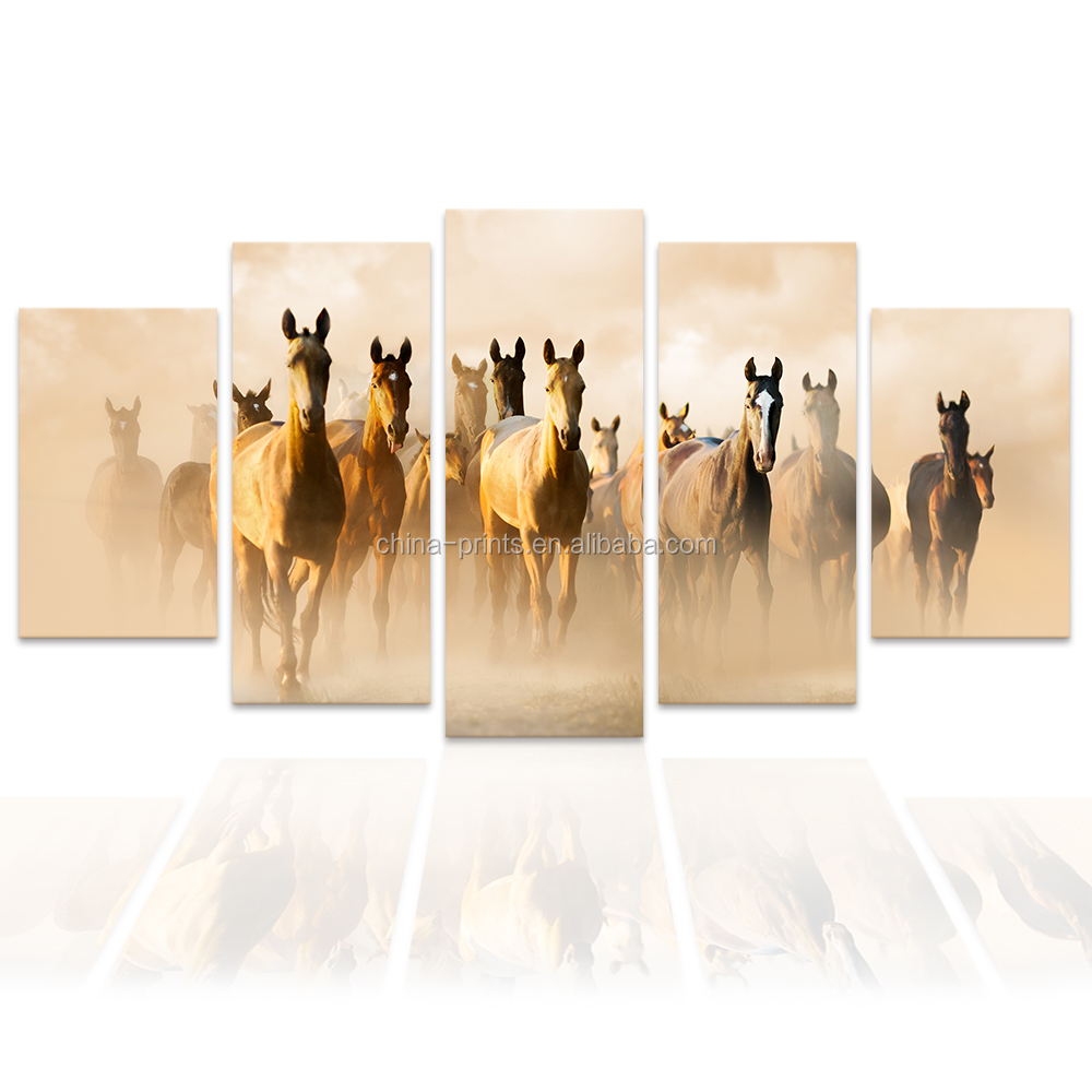 5 Panels Running Horse Canvas Art Prints Animal Painting Wall Art Picture Living Room Wall Decor/SJMT1934