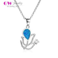 Women Design Style Genuine 925 Sterling Silver Blue Fire Opal Charm Pendant Jewelry Necklace