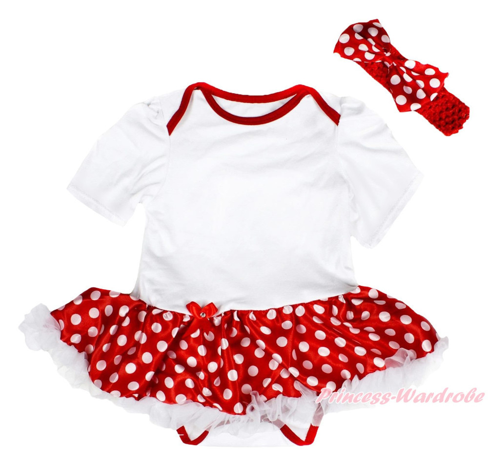 Xmas Plain White Bodysuit Minnie Dot Girls One Piece Baby Dress Skirt Set NB-18M