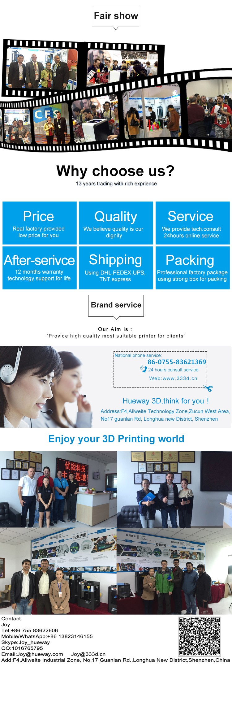Free Shipping! 2017 Printer 3D Made in China Factory Wholesaling One year Warranty Professional FDM 3D Printer