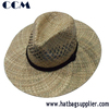 Seagrass Straw Woven Flat Brim Cowboy Hats with Leather Band