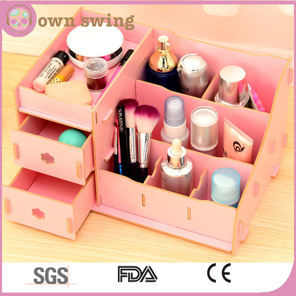 Creative DIY desktop wooden cosmetic storage box with drawer/Make up Removable Collection Organizer/Cute Desktop Storage Box