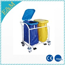 2017 hot sale stainless steel hospital cleaning trolley waste trolley