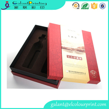 custom full color printing hard thick cardboard 2 bottle pais wine packaging box with lid