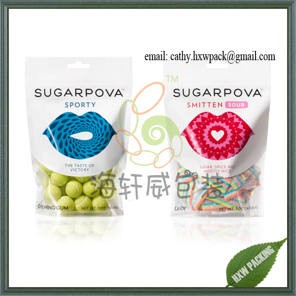 foil lined food grade stand up jelly candy packing plastic food packaging with clear window and zipper