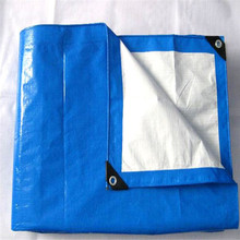 High quality blue white pe tarpaulin with black plastic corner around eyelets