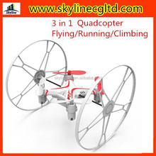 2015 new hot sale 3 in 1 rc quad copter drone, flying running climbing rc china quad copter