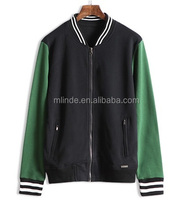 2017 New Arrival Eco-Friendly High Quality Slim fit Fleece Cotton Man Zip Up College Baseball Jackets With Striped Trim