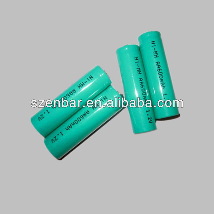 AA cylindrical nimh rechargeable battery 600mah 1.2v