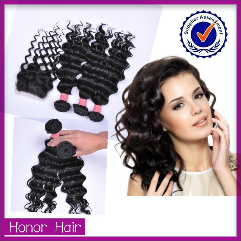 Soprano cheap 100 human hair weaving, loose deep wave weave hairstyles