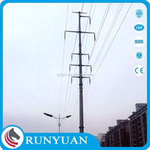 2017electric pole used for 33kv transmission line steel pole tower