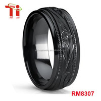 Men's Hand Engraved Floral Black Plated Titanium Wedding Band Engagement Ring, Dome 8mm