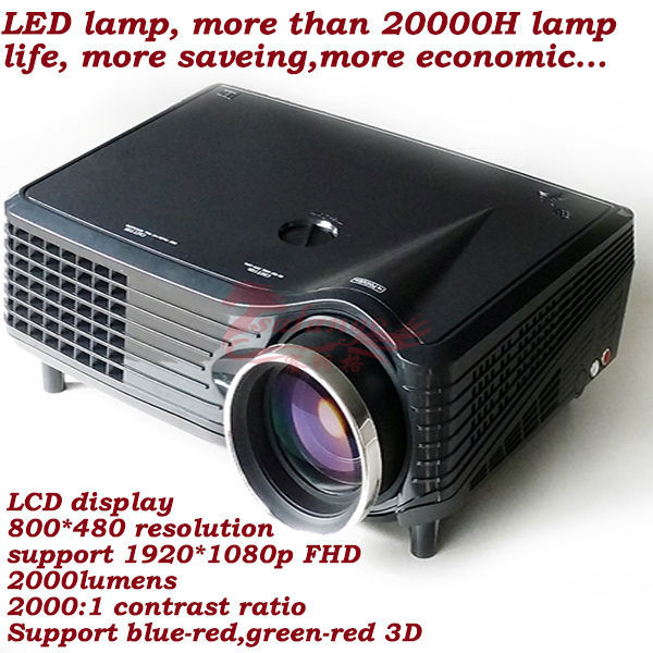 free shipping new hot sale led multimedia projector resolution 800*480p 1500lumens 50000 hours Visiontek Projector