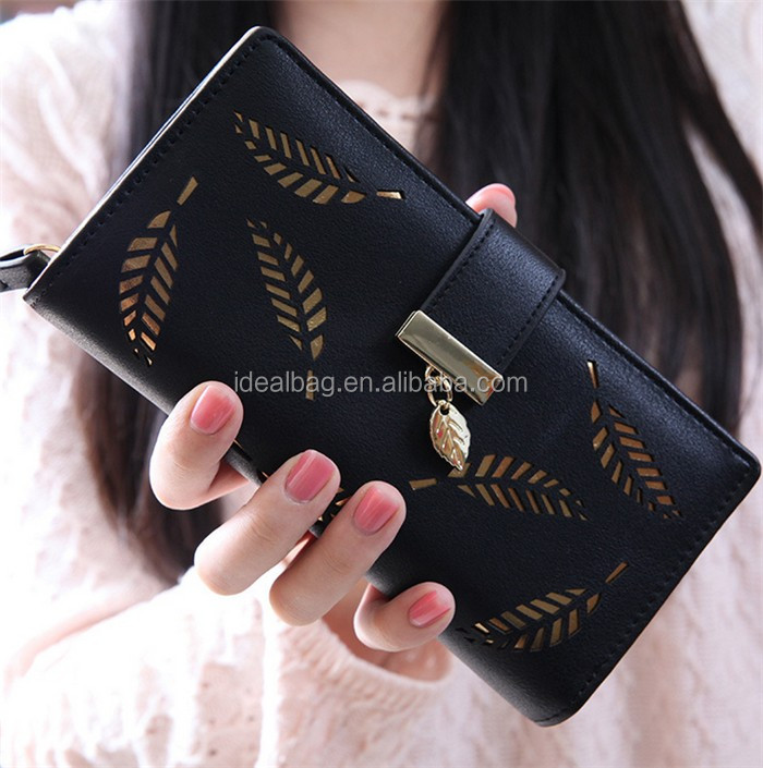 Wholesale korean hollow out black color long design ladies leather purse and wallet women
