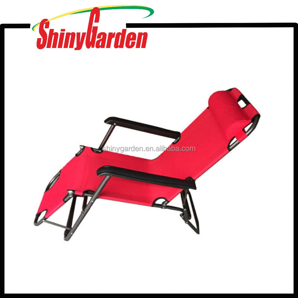 Reclining Lounge Chair Outdoor Folding Camp Fishing Arm Rest Beach Deck