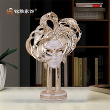 Home Garden decoration High simulation resin masked beauty figurines