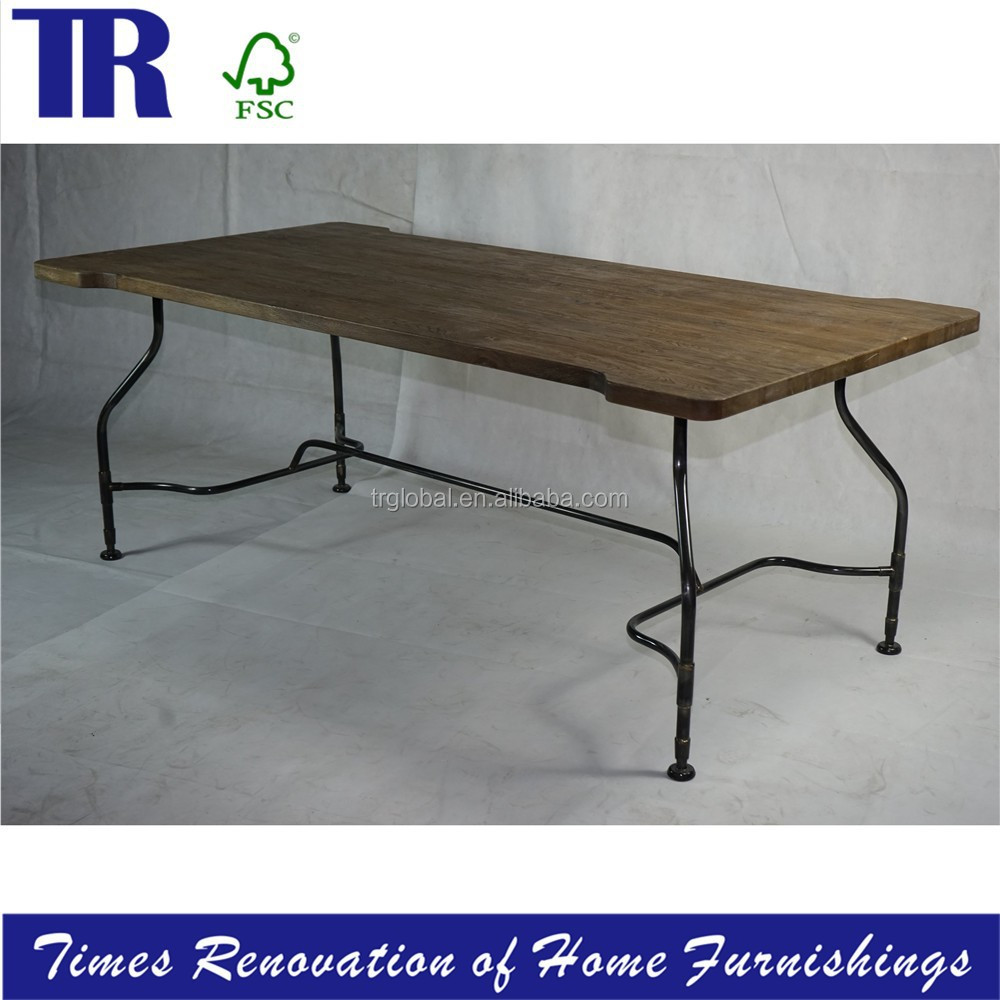 solid wood wide table ,metal bottom coffeeTable,hand-fabricated steel tube base dining table