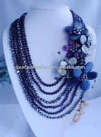 FM008 2013 New Classic Designer pearl crystal beads chain shell flower necklace fashion jewelry for women