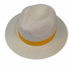 Wholesale summer cheap promotion white PP straw panama hat