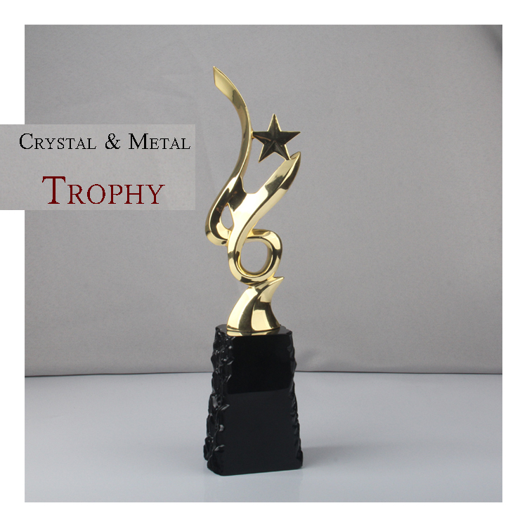 High quality star shaped crystal and metal medal trophy awards for souvenir with crystal base