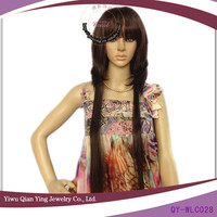 fashion long brown layered synthetic asian ladys hair wigs