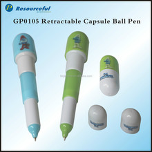 Customized Cute Pill Stretchy Ball Pen/Capsule Retractable Pen/Cartoon Pen