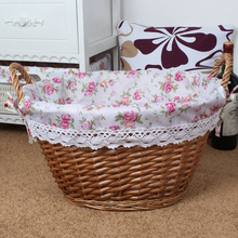Wholesale Brown Wicker Basket Lined Willow Storage Basket with handles