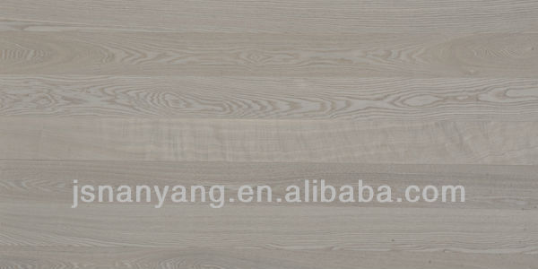 2-layer square edge white wash stained parquet solid ash wood flooring