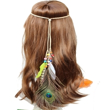 Long Peacock Feather Headband Bohemia Style Hairband <strong>Hair</strong> <strong>Accessories</strong>