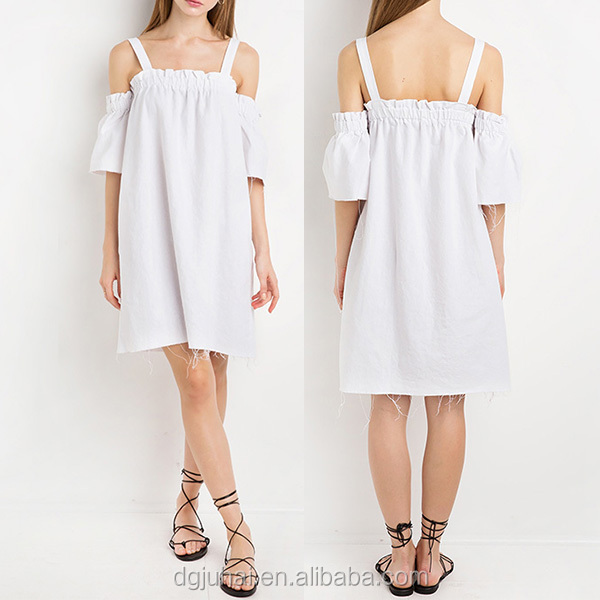 Wholesale White Linen Women Off The Shoulder Dress