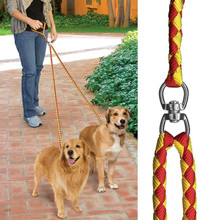 1.2M Nylon Parade Contrast Color Padded Handle No Tangle Coupler Leash for Two Dogs Double Dog Leash