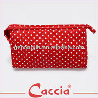 Cotton Red Circle Dot cosmetic bag fabric