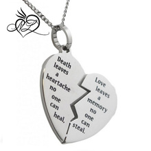 Broken Heart Bereavement Necklace Stainless Steel Pendant Condolence Gifts