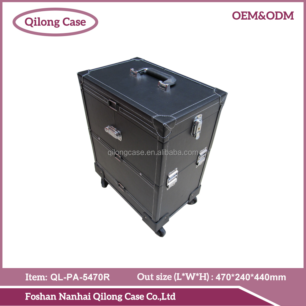 Pvc leather professional cosmetic makeup beauty trolley case rolling trolley case