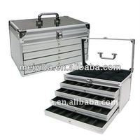 Aluminum jewelry Case with drawers