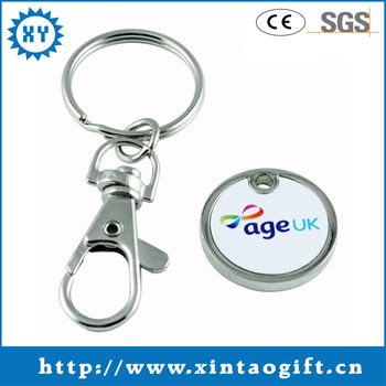 Metal foldable Shopping Cart Trolley Coin custom keyring