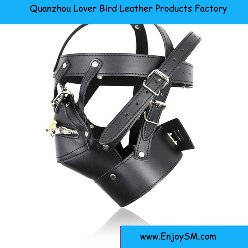 Zipper Mouth Latex Faux Leather Sex Mask Sexy Fetish Bondage Mask Hood with Lock Adult Games Sex Toys for Couples Erotic Toys